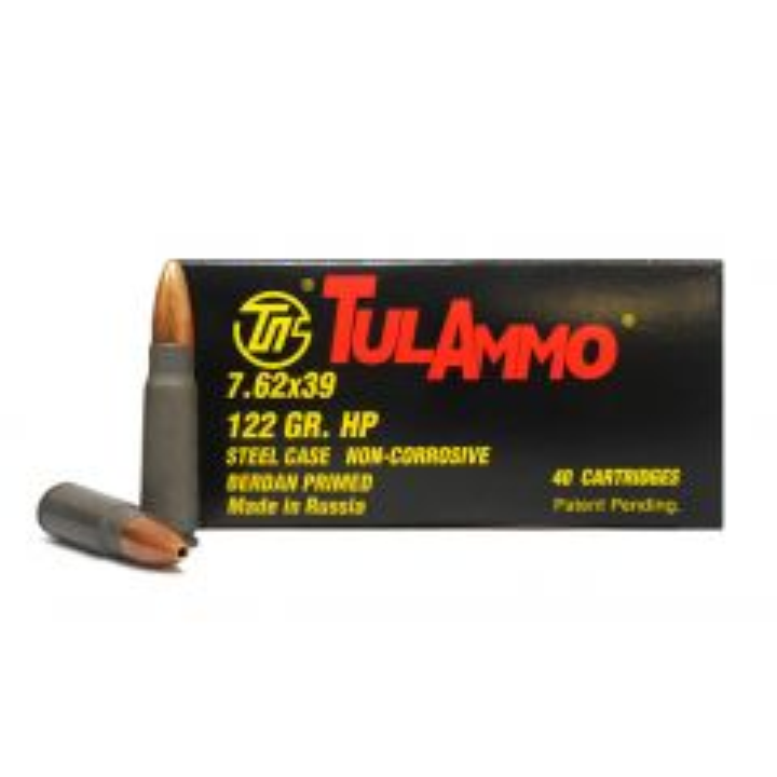 TulAmmo 7.62X39MM 122 GR HP (PKG: 40 RD BOX)