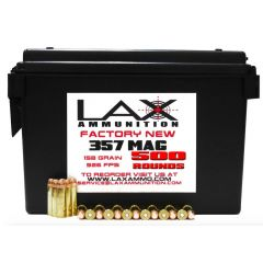LAX Ammunition Factory New 357 MAG 125 GR 500 RDS W/ Free Ammo Can
