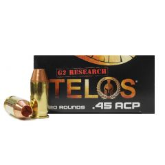 G2 Research TELOS 45 AUTO +P 160 GR SOLID COPPER 20 ROUNDS