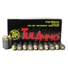TulAmmo 9MM Makarov 92 GR FMJ STEEL CASE 50 RDS