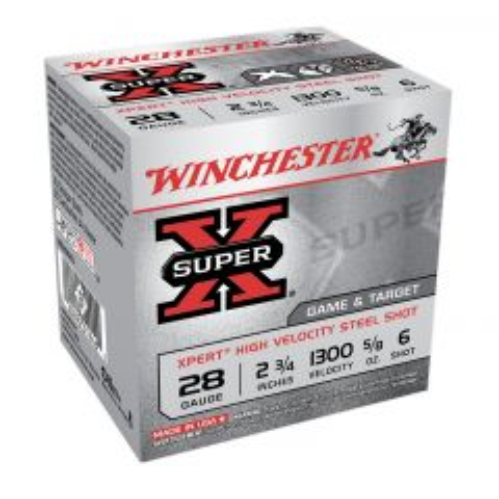 "Winchester XPERT 28 GA 2-3/4"" High Velocity Steel Shot #6 SHOT (WE28GT6)"