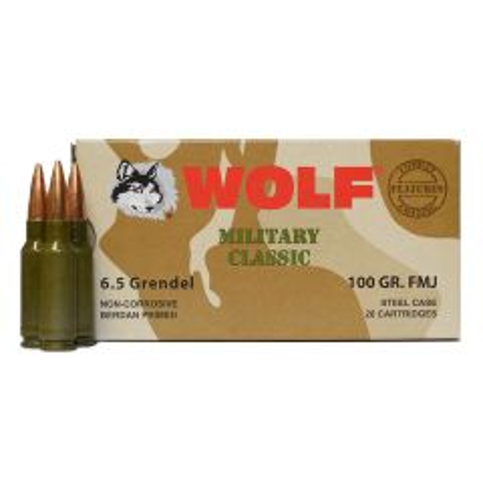 Wolf 6.5 GRENDEL 100 GR. FMJ Steel Case