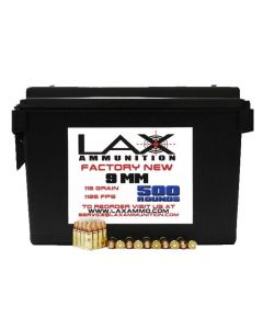 LAX Ammunition Factory New 9MM 115 GR 500 RDS W/FREE AMMO CAN